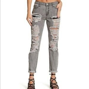 Grey Acid Wash Ripped Straight Jeans